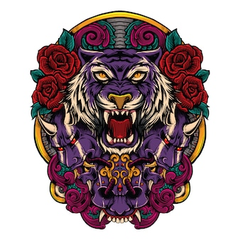 Tiger with japanese evil mask with roses artwork combination illustration