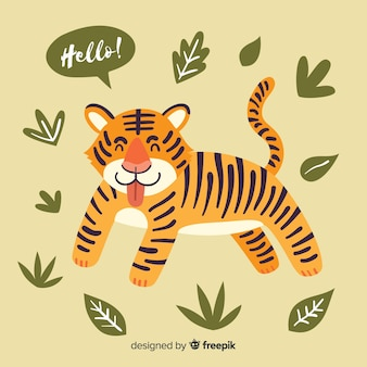Tiger with leaves background