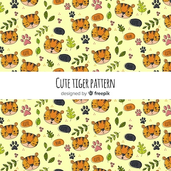 Tiger with leaves pattern