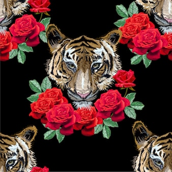 Tiger with roses seamless pattern