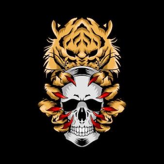 Tiger with skull illustration