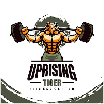 Tiger with strong body, fitness club or gym logo.