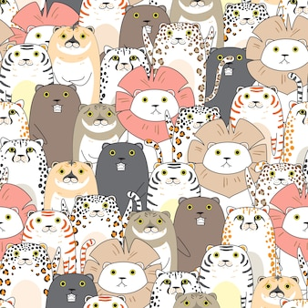 Tigers and cats seamless pattern