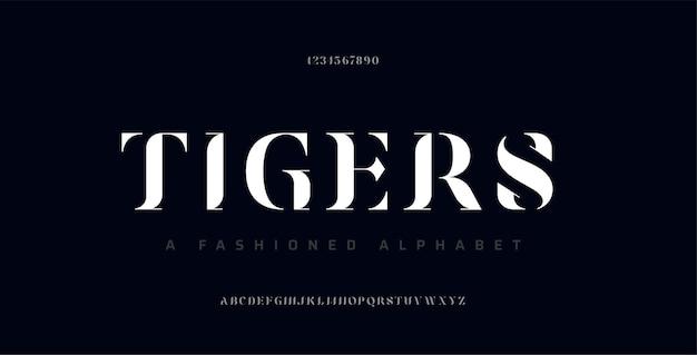 「虎」エレガントな昔ながらのアルファベットのフォントと数字
