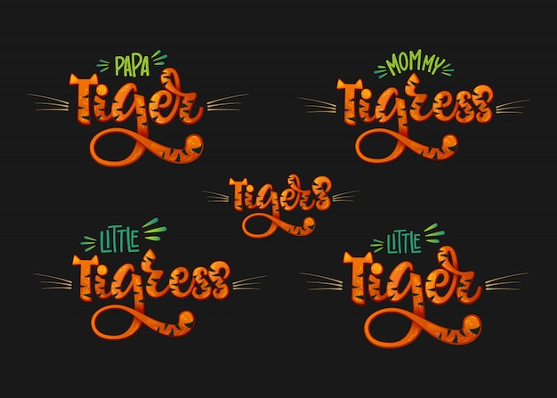 Tigers family set color hand draw calligraphyc script lettering text