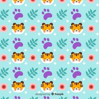 Tigers and fotprints pattern