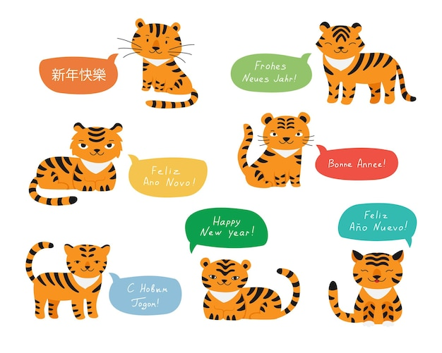 Tigers happy new year greetings in different languages