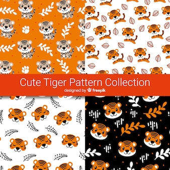 Tigers and leaves pattern