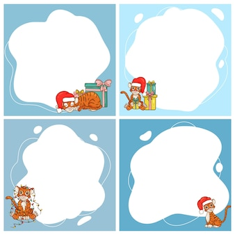 タイガース。中国の暦による新年のシンボル。フラット漫画スタイルのスポットの形でベクトルフレームのセット。子供の写真、はがき、招待状のテンプレート。