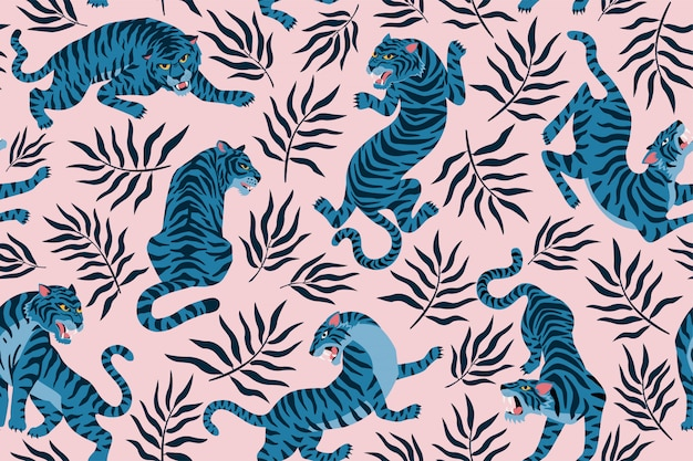 Tigers and tropical leaves. trendy illustration. abstract contemporary seamless pattern.