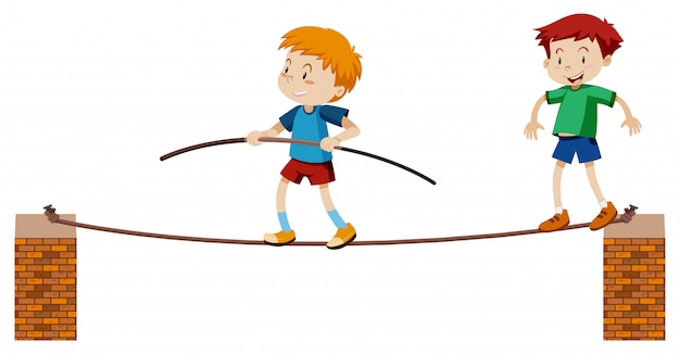 Tightrope walker on white background