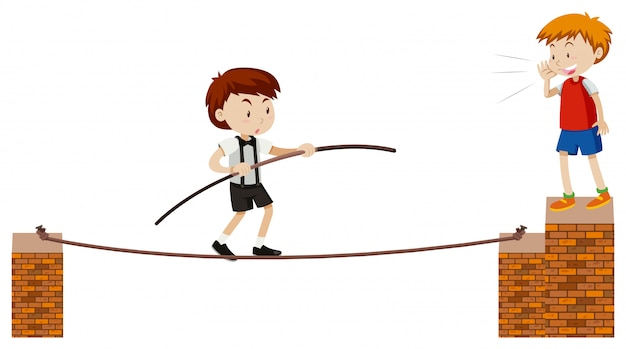 Tightrope walking on white background