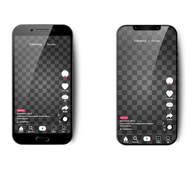 Tik tok interface for smartphone on an isolated background