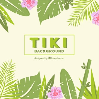 Tiki background with palm leaves