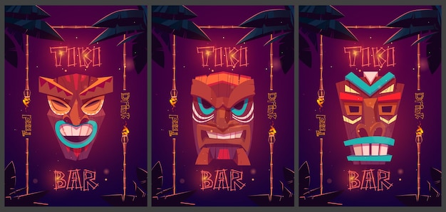 Tiki bar cartoon ad posters with tribal masks in bamboo frames and palm leaves promo posters for beach hut bar food and drink signboards with glowing fonts for amusement establishment banners