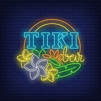 Tiki bar neon text with flowers
