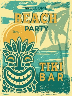 Tiki bar poster. hawaii beach summer party invitation tiki tribal wooden masks  retro placard