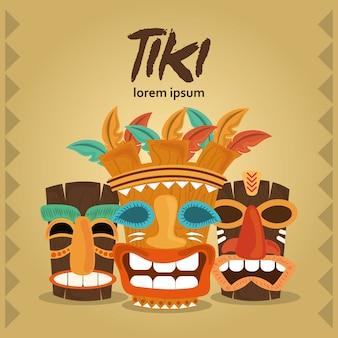 Tiki hawaiian and african culture wood masks card illustration