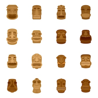 Tiki idol aztec hawaii face icons set