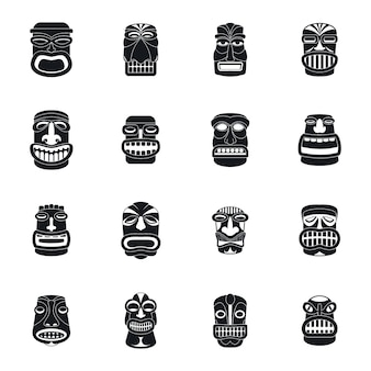 Tiki idol aztec hawaii icons set