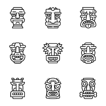 Tiki idol icon set, outline style