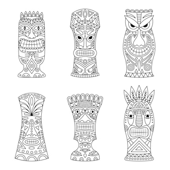 Tiki idols icon set.