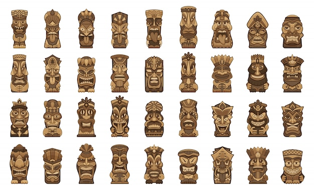 Tiki idols icons set. cartoon set of tiki idols icons
