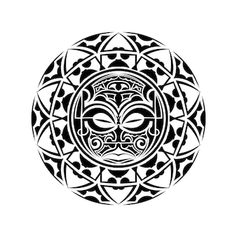 Тики - это человекоподобная фигура, олицетворяющая полинезийских полубогов. тики использовались маори в качестве амулетов и ритуалов, а также в тату-искусстве. священный знак и символы. человеческие эмоции - мрак. фондовый вектор.