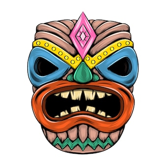 Tiki island traditional mask with the big mouth and lose eyes for the party
