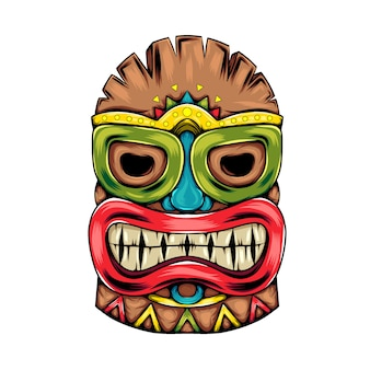 Tiki island traditional mask with the big smile of the mask for the party