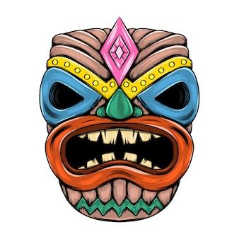 大きな口とパーティーの目を失うティキ島の伝統的なマスク
