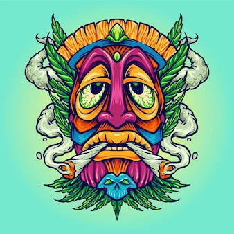 Tiki joint kush smoking weed cannabis   illustrations
