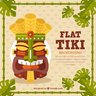 Tiki mask background in flat design