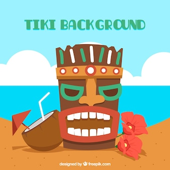 ビーチのティキ・マスクの背景