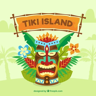 Tiki mask background with palm leaves