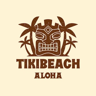 Tiki mask beach logo template