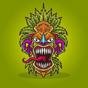Tiki mask cannabis hemp weed leaves