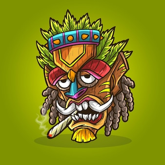 ティキマスク大麻麻雑草喫煙。