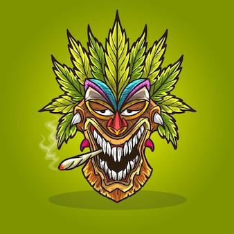 Tiki mask cannabis hemp weed smoking.