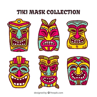 Tiki mask collection with colorful style