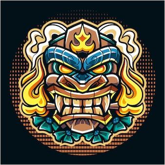 Tiki mask esport mascot logo