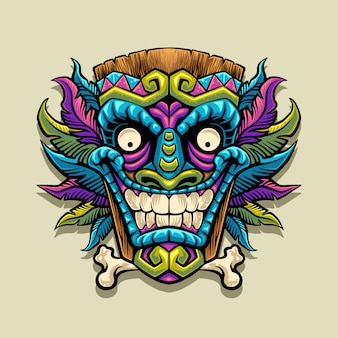 Tiki mask mascot illustration