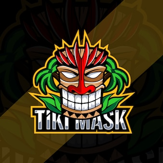 Tiki mask mascot logo esport design