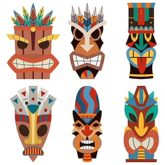 Tiki mask vector set of cut wooden hawaiian and polynesian guise.