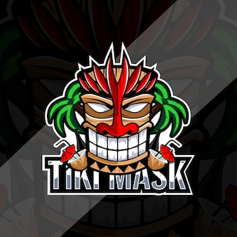 Tiki mask with coco and bottle logo design