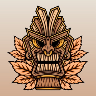 Tiki mask with maple leaf.