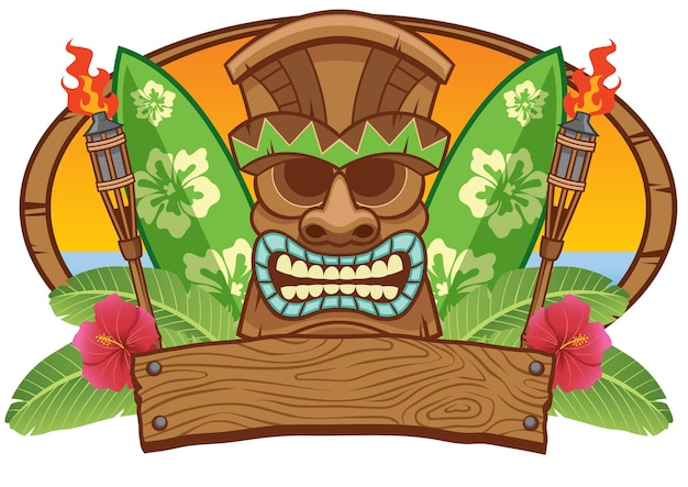Tiki mask with surfing board flat illustration