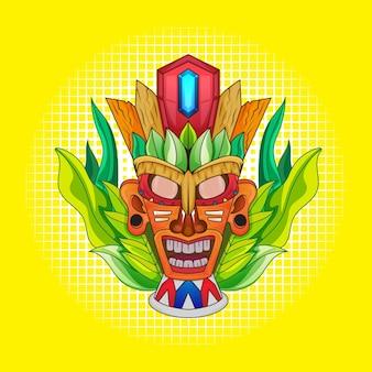 티셔츠 디자인을 위한 티키 마스크와 토템 문화 일러스트레이션