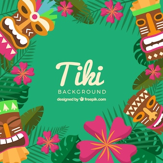 Tiki masks, flowers and leaves