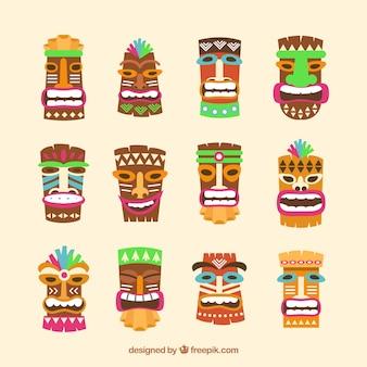 Tiki masks with flat design